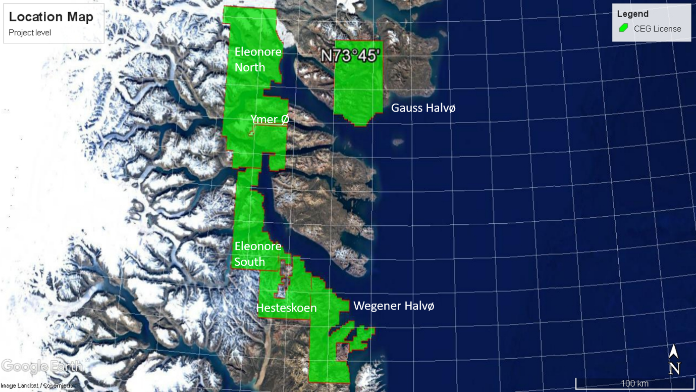 Greenfields Exploration Ltd, equity crowdfunding, Greenland mining, Exploration Licence, Tenements, Naalakkersuisut Mineral Licences,  number 2018/01 expires 2020 area 4,850sqkm, 2018/02 expires 2020 area 1,830sqkm, 2018/03 expires 2020 area 2,433sqkm, 2018/04 expires 2020 area 1,637sqkm , 2018/05 expires 2020 area 2,155sqkm 2018/19 expires 2023 area 70sqkm
